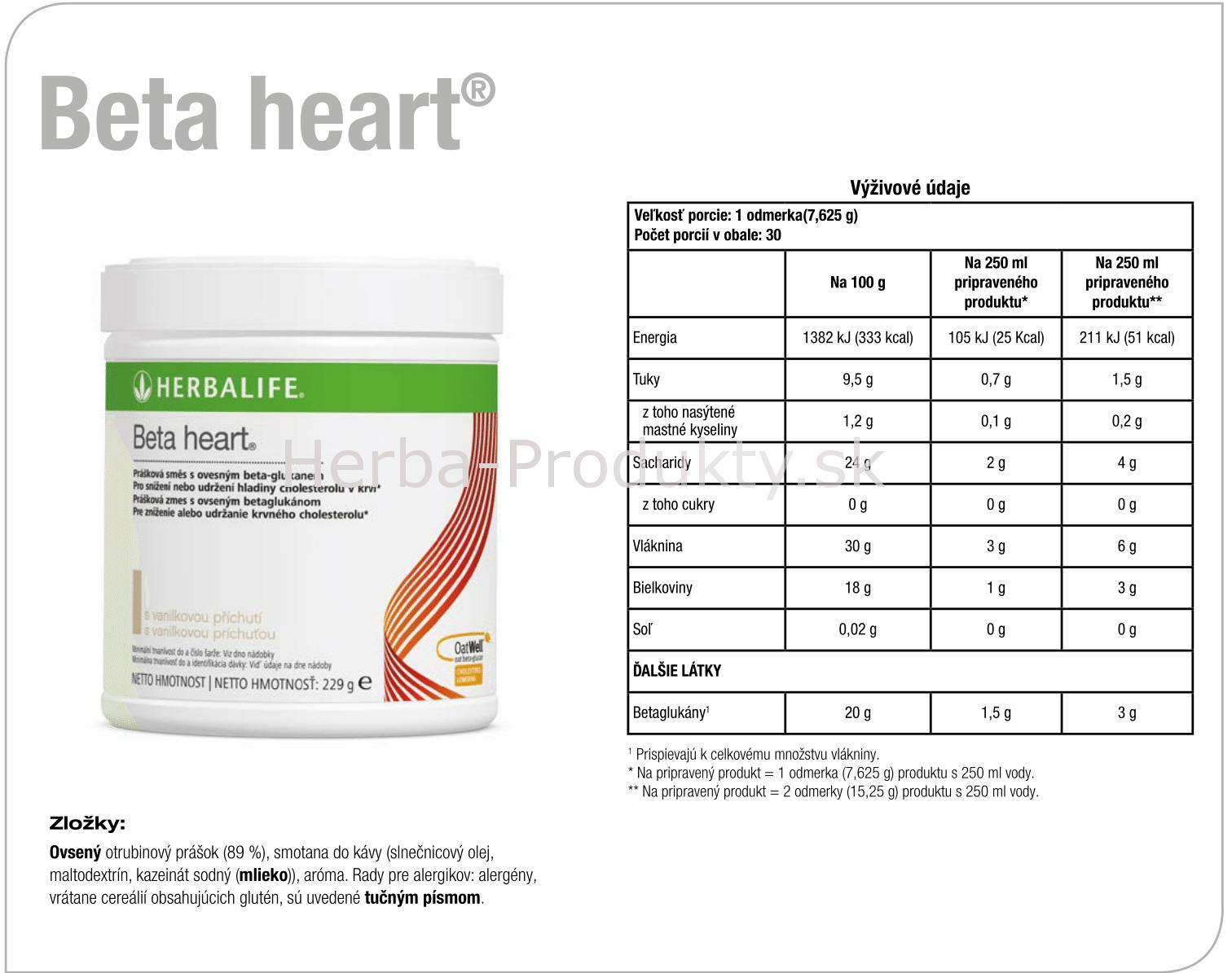 Herbalife Beta heart - Nutričné zloženie