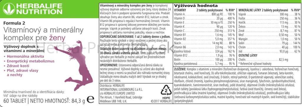 Formula 2 Vitaminovy a mineralny komplex pre zeny-stitok