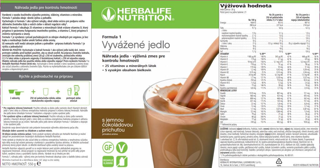 Herbalife Formula 1 - Jemná čokoláda SKU 4468