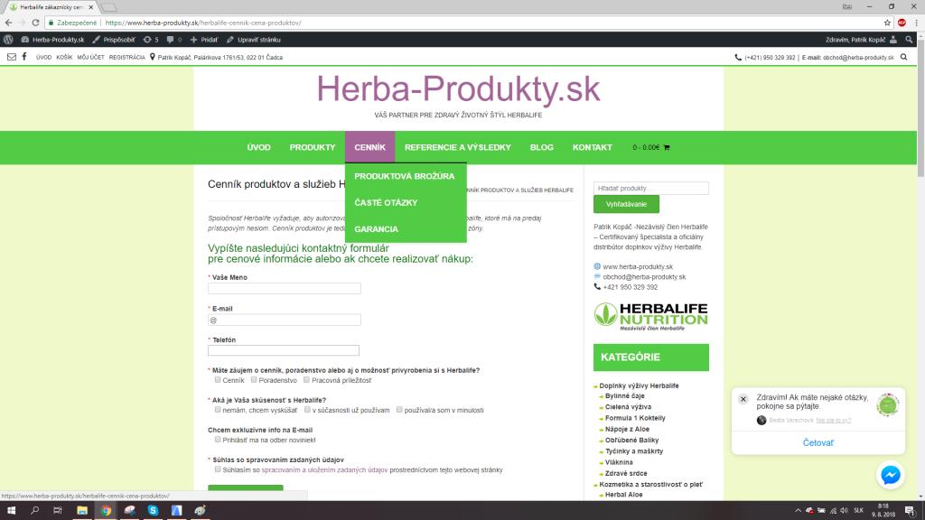 Herbalife cena - Žiadosť o cenník produktov Herbalife