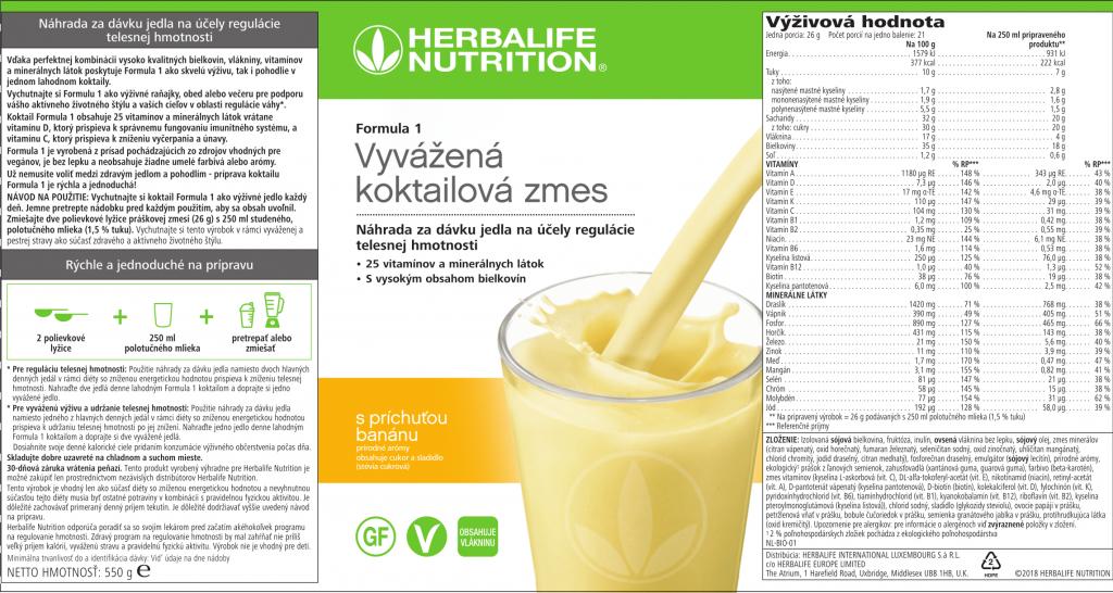 Herbalife Formula 1 s príchuťou Banánu