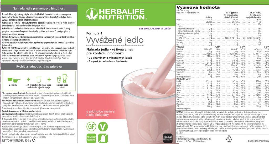 Herbalife Formula 1 Free s príchuťou malín a bielej čokolády
